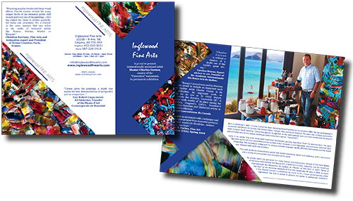 GoGo Graphics trifold brochure for Inglewood Fine Arts
