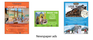 Newspaper ads by GoGo Graphics