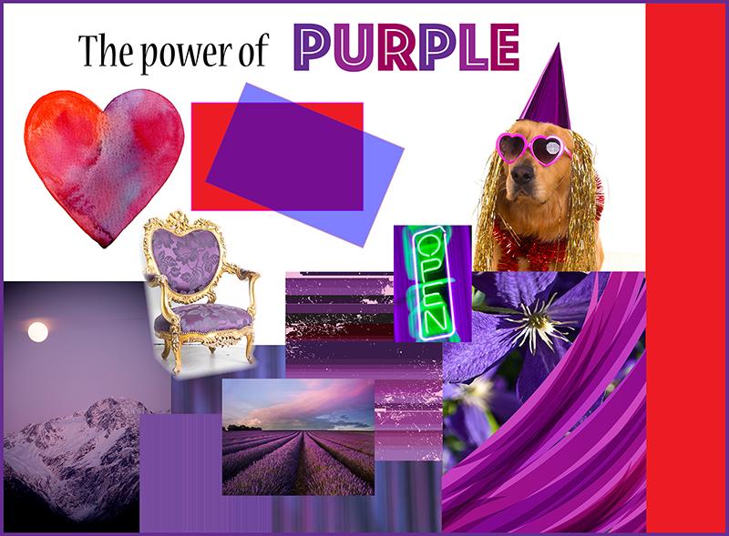 GoGo Graphics design collage of the colour purple